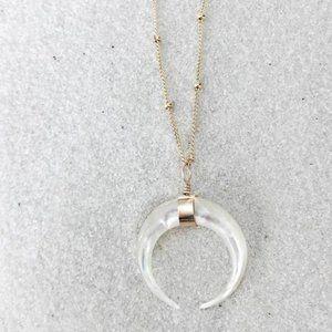 James Michelle Pearl Crescent Necklace